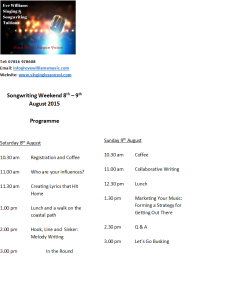 songwriting weekend programme