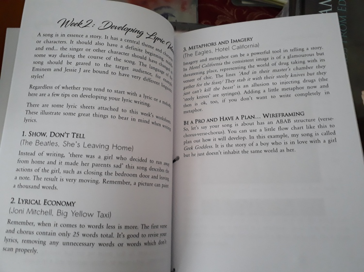 inside songwriting book